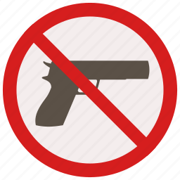 allowed, guns, no, prohibited, signs, warning icon