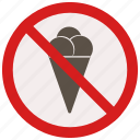cream, ice, no, prohibited, signs, warning icon