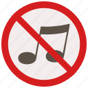 music, no, prohibited, signs, warning