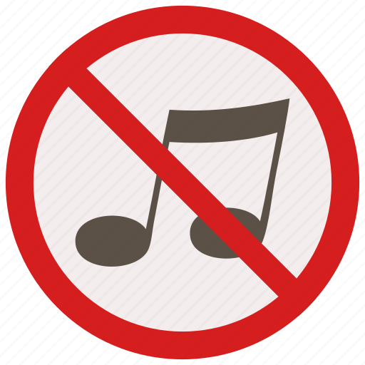 music, no, prohibited, signs, warning icon