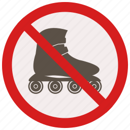 no, prohibited, signs, skates, warning icon