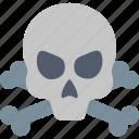 death, alert, bones, danger, dead, skull, warning icon