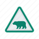 alert, bear, sign, signs, warning icon