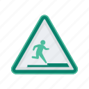 alert, run, sign, signs, step, warning icon