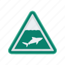 alert, shark, sign, signs, warning icon