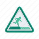 alert, edge, sign, signs, warning, water icon