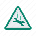 alert, drop, sign, signs, warning, wrench icon