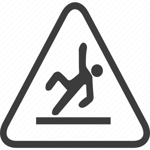 fall risk, sign, warning, warning sign icon