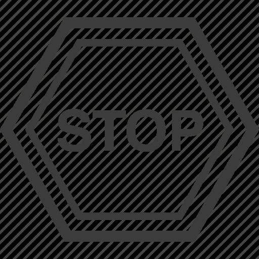 sign, stop, warning, warning sign icon