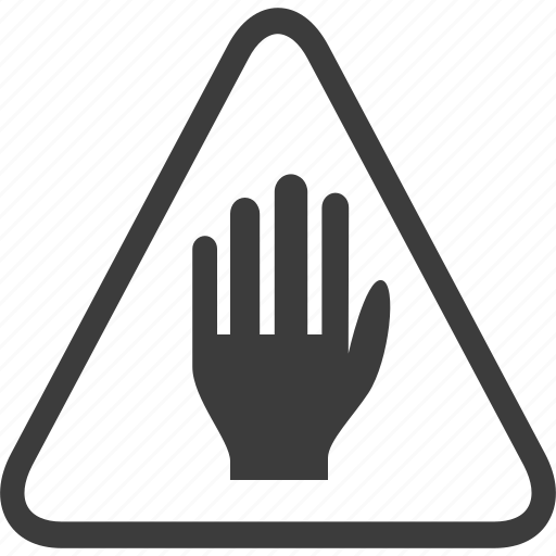 hand, sign, stop, warning, warning sign icon