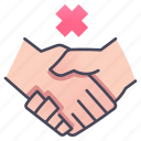 coronavirus, disease, hand, handshake, no, shake, warning icon