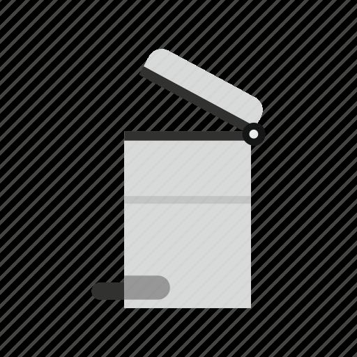 household, logo, protection, steel trashcan, throw, traditional, trash icon
