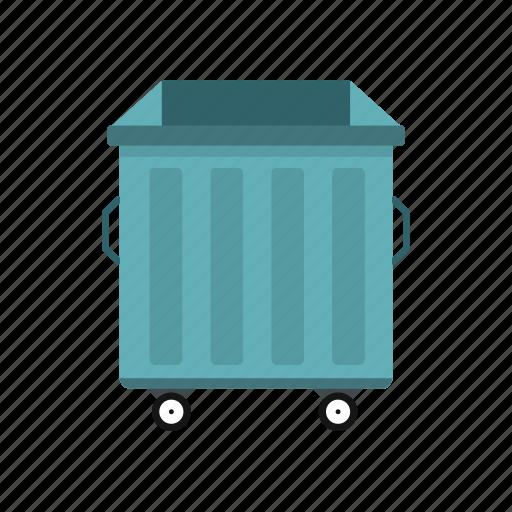 basket, bin, dumpster, garbage, recycle, waste, wheels icon