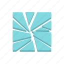 broken, crack, crash, glass, sharp, shattered, window icon