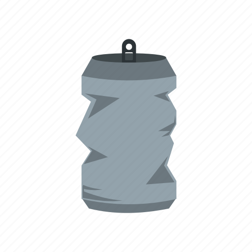 beverage, can, container, crumpled, drink, metal, tin icon