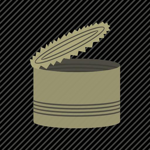 aluminum, container, food, metal, metallic, storage, tin icon