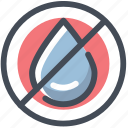cancle, drop, moisture, no, water icon