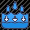 down, water, drop, arrow, direction, navigation, location