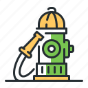 fire hose, firefighting, hydrant, water icon