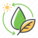 drop, hydration, leaf, water cycle icon