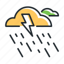 lightning, rain, rainfall, rainstorm icon