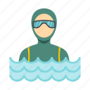 diver, extreme, sea, sport, suit, underwater, water icon