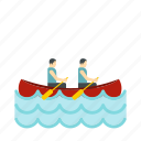 boat, canoeing, competition, sport, team, two, water icon