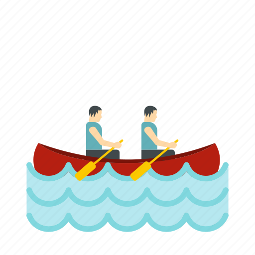 Boat Canoeing Competition Sport Team Two Water Icon