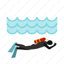 diver, equipment, ocean, sea, sport, underwater, water icon