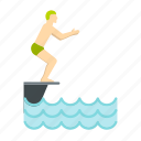 dive, jump, man, sport, springboard, tower, water icon