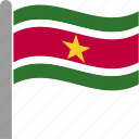 country, flag, pole, sur, suriname, surinamese, waving icon
