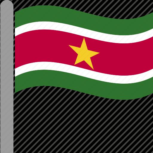 country, flag, pole, sur, suriname, surinamese, waving icon