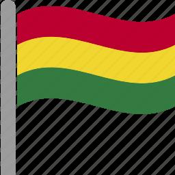 bol, bolivia, bolivian, country, flag, pole, waving icon