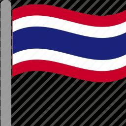 country, flag, pole, tha, thai, thailand, waving icon