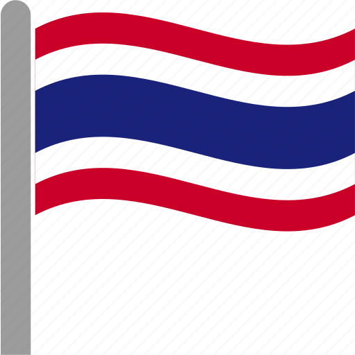 country, flag, pole, tha, thai, thailand, waving icon