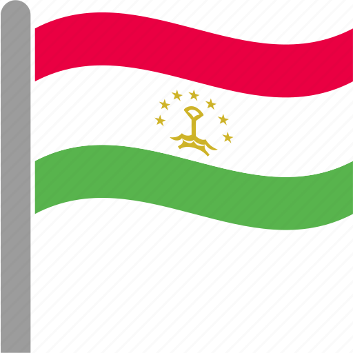country, flag, pole, tajikistan, tajikistani, tjk, waving icon