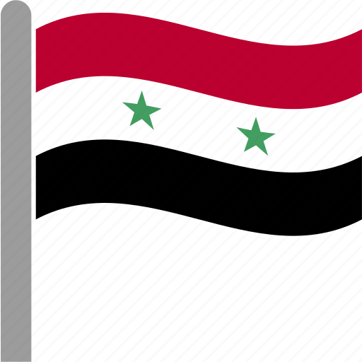 country, flag, pole, syr, syria, waving icon