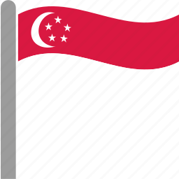 country, flag, pole, sgp, singapore, waving icon