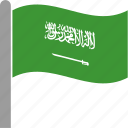arabia, arabin, country, flag, saudi, saudia, waving icon