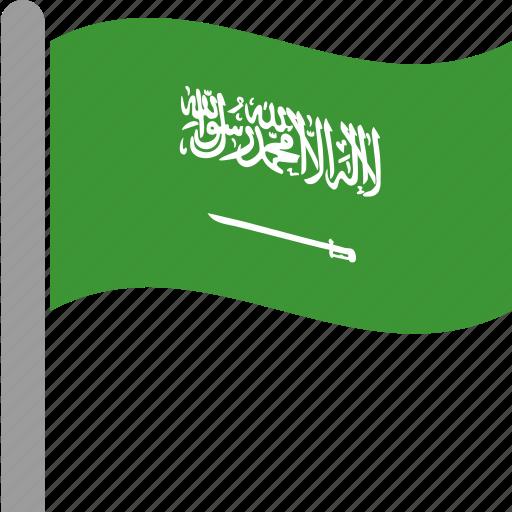 arabia, arabin, country, flag, saudi, saudia, waving icon