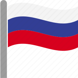 country, flag, pole, rus, russia, russian, waving icon