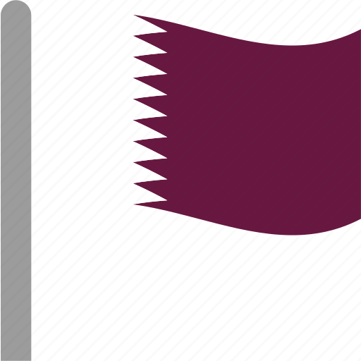 country, flag, pole, qat, qatar, qatari, waving icon