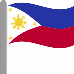 country, flag, philippine, philippines, phl, pole, waving icon