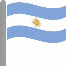 argentina, argentines, argentinian, country, flag, pole, waving icon