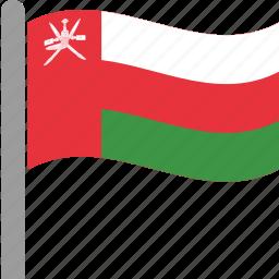 country, flag, oman, omani, omn, pole, waving icon