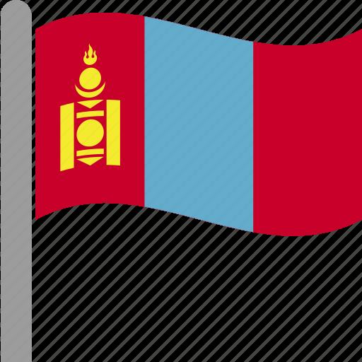 country, flag, mongolia, mongols, pole, qmongolian, waving icon