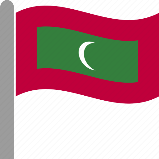 country, flag, maldives, maldivian, mdv, pole, waving icon