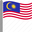 country, flag, malaysia, malaysian, mys, pole, waving icon