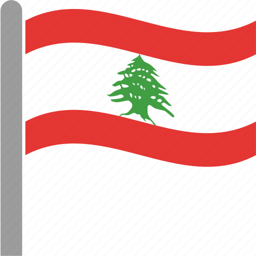 country, flag, lbn, lebanese, lebanon, pole, waving icon