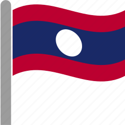 country, flag, lao, laos, pole, waving icon